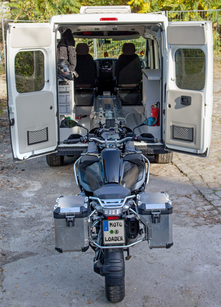 Motorcycle ready for being loaded inside the vehicle